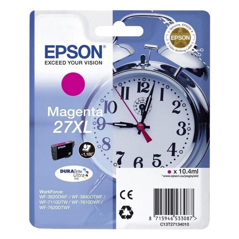 Cartucho magenta epson 27xl durabrite - 10.4ml - despertador - para wf-3620dwf / wf-3640dtwf / wf-7110dtw / wf-7610dwf /