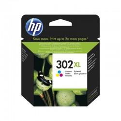 Cartucho de tinta color hp nº302xl - 330 páginas - para  officejet 3830 / 3832 / 3630 / deskjet 1110 / 2130 / envy 4520 / 4650