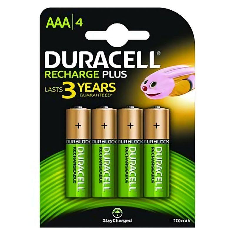 Pack de 4 pilas aaa duracell hr3-b/ 1.2v/ recargables