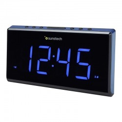 Despertador sunstech frd28bl - fm - 10 presintonias - alarma dual programable - pantalla led 16.5cm  - calendario - funciones