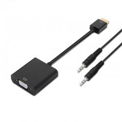 Adaptador hdmi a svga+audio aisens a122-0126 - conectores hdmi macho/d-sub hembra + jack 3.5 hembra - negro - 10cm + 1m