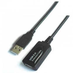 Cable alargador usb 2.0 aisens a101-0018/ usb macho - usb hembra/ 5m/ negro