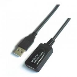 Cable alargador usb 2.0 aisens a101-0020/ usb macho - usb hembra/ 15m/ negro
