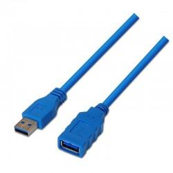 Cable alargador usb 3.0 aisens a105-0045/ usb macho - usb hembra/ 1m / azul